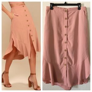 Lulu's Mauve/Dusty Pink Button Down Ruffle Skirt